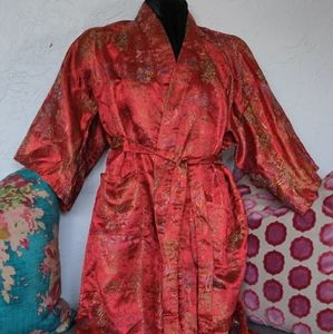 Vintage Yushan Kimono Robe Dressing Coat Medium